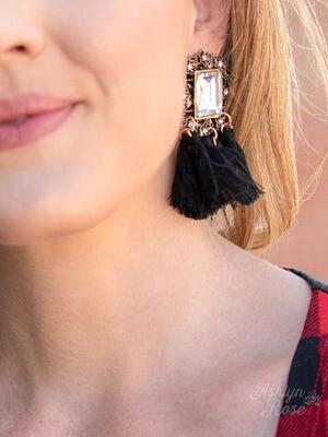 Black Vintage Fringe Earring