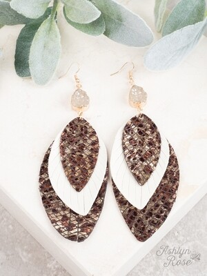 Brown & Cream Pendant & Druzy Earring