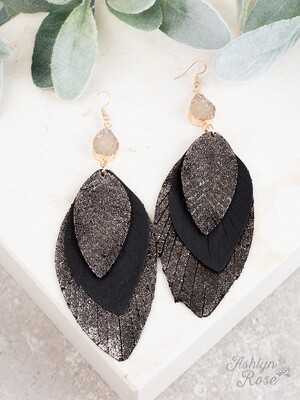 Black & Metallic Pendant & Druzy Earring