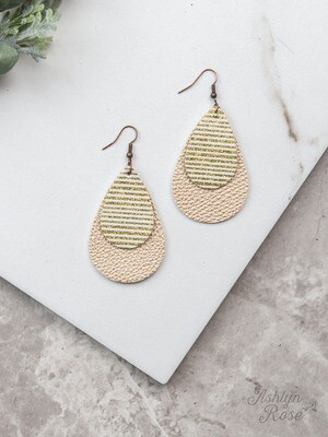 Gold Stripe Glitter on Metallic Gold Teardrop Earring