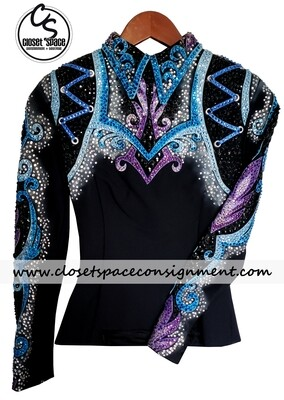​'Dawn Haas Myers' Black, Purple & Blue Top