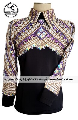 ​'Wicked Crystals by Christie' Black, White, Gold & Purple Top - NEW