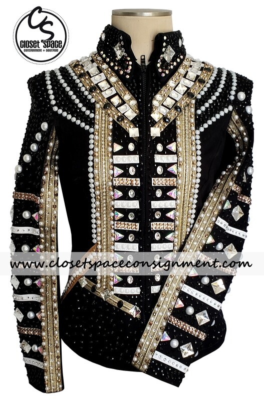​'DKJ Designs' Black, Gold & White Jacket