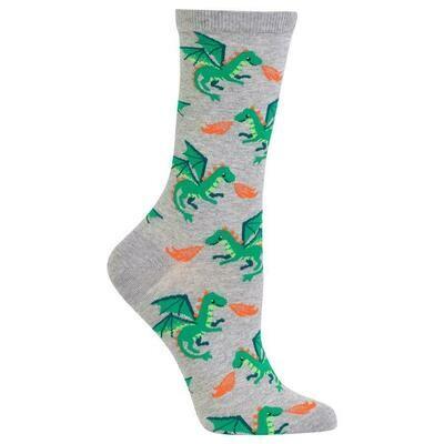 Women's Gray Dragon Crew Socks