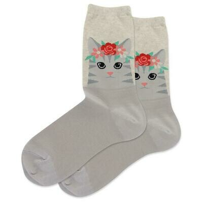 Women's Natural Cat Flower Crown Socks