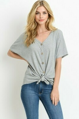 Heather Gray Dolman V-Neck