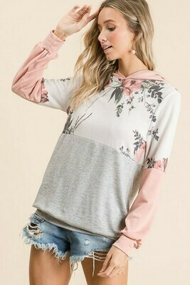 Blush, Gray & Ivory Floral Hoodie