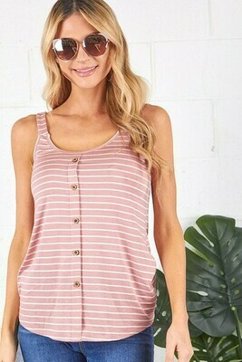 Mauve & White Button Stripe Tank