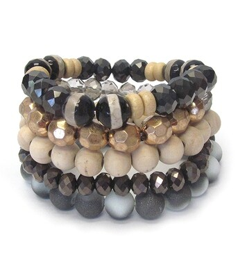 Multi Stone 5 PC Stretch Bracelet