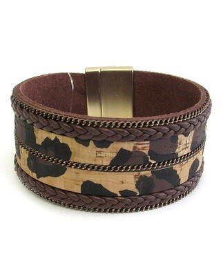 Brown Cheetah Cork Magnet Bracelet
