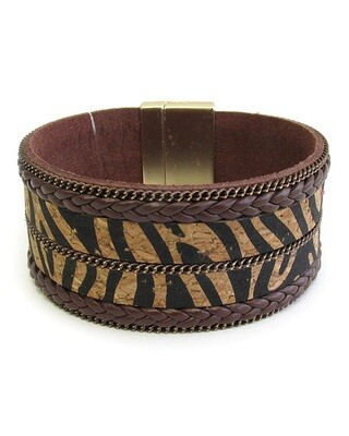 Brown Zebra Cork Magnet Bracelet