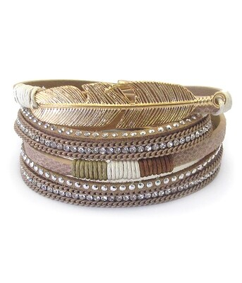 Gold Feather Leather Wrap Magnet Bracelet