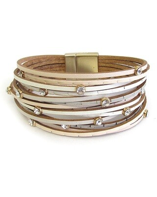 White Multi Layer Magnet Bracelet