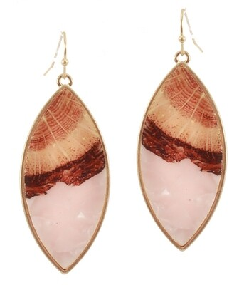 Gold Resin Oval Earring