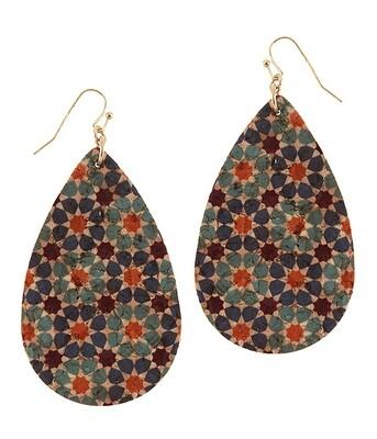 Moroccan Cork Teardrop Earring