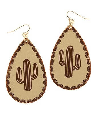 Leather Cactus Teardrop Earring