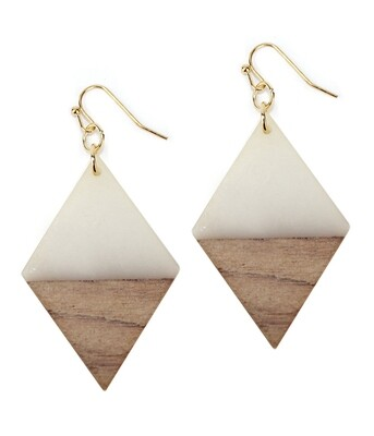 Resin & Wood Diamond Earring