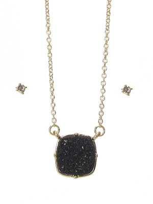 Gold & Black Druzy Pendant