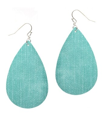 Turquoise Fabric Teardrop Earring