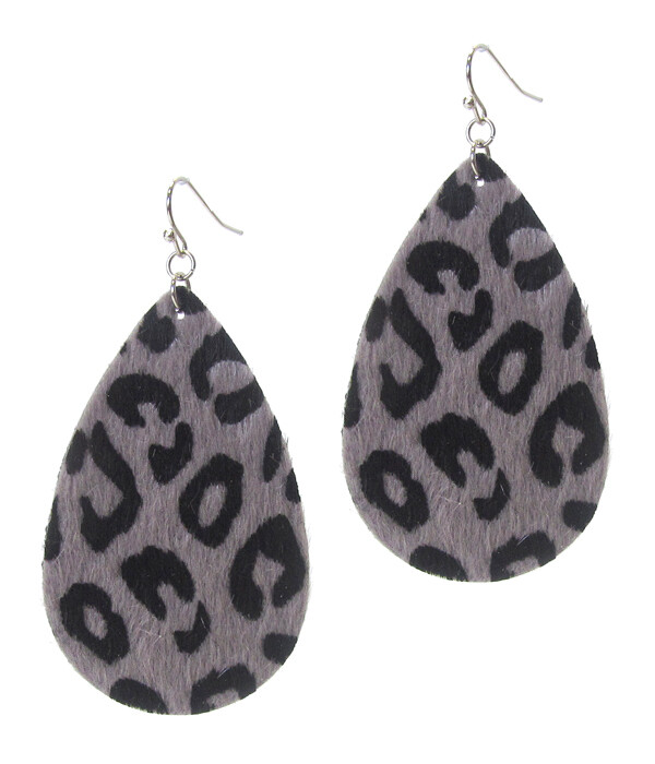 Gray & Black Animal Print Teardrop Earring