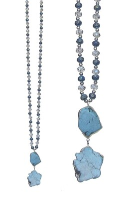 Double Turquoise Stone Necklace
