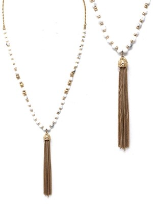 Gold & Ivory Chain Tassel Necklace