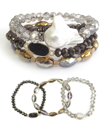 Multi Stone 3 PC Stretch Bracelet