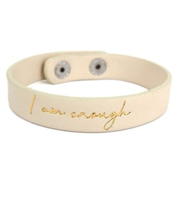 Ivory 'I Am Enough' Snap Bracelet