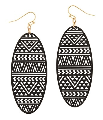 Black Metal Oval Earring