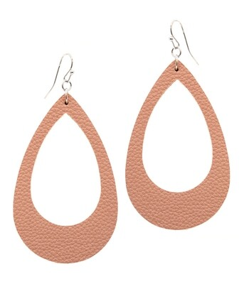 Peach Leather Teardrop Earring
