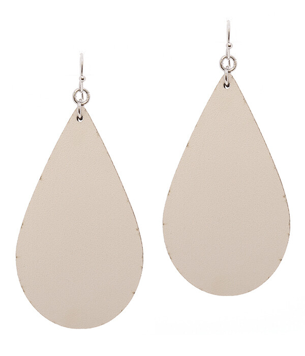 White Leather Teardrop Earring
