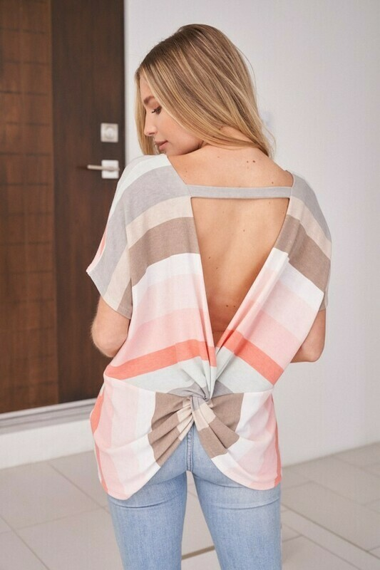 Coral Stripe Open Back Twist Tee