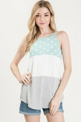 Mint Polka Dot Color Block Tank
