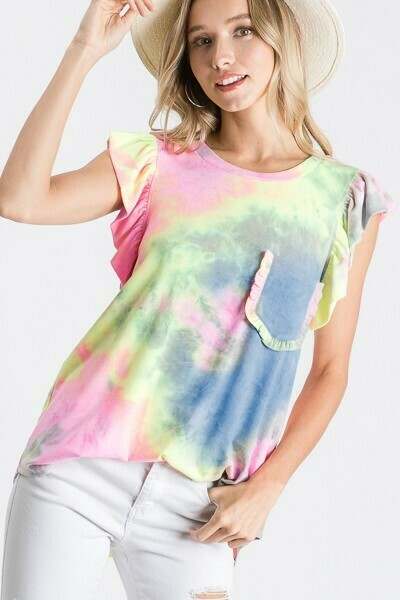Navy, Yellow & Pink Tie-Dye Tee