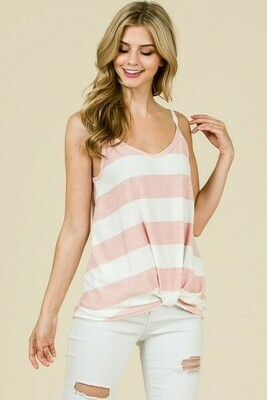 Blush & White Stripe Tank