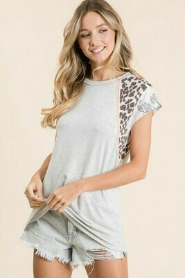 Heather Gray, Coral & Leopard Tee