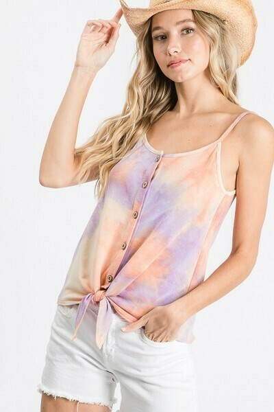 Lavender & Orange Tie-Dye Knot Tank
