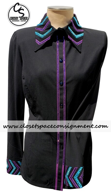 ​'Signature Styles' Black, Turquoise & Purple Shirt - NEW