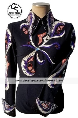 ​'Joan Ames' Black, Purple, White & Rust Top