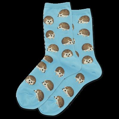 Women's Blue Hedgehog Crew Socks