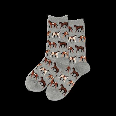 Women's Gray Horses Crew Socks