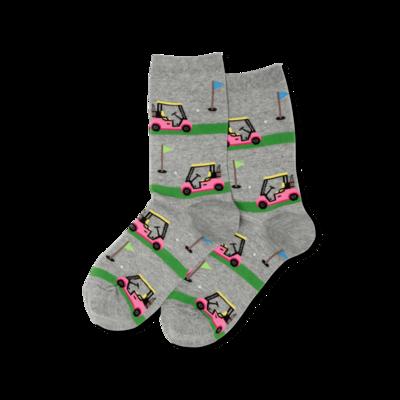 Women's Gray Golf Cart Crew Socks