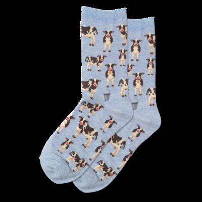 Women's Blue Cow Herd Crew Socks