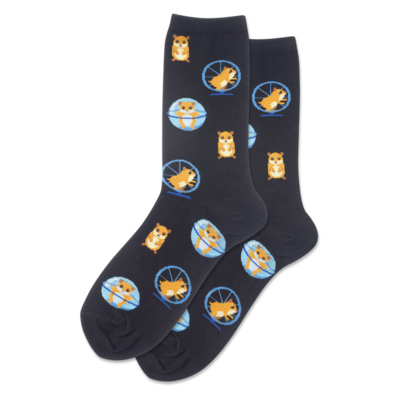 Women's Black Hamster Wheel Crew Socks
