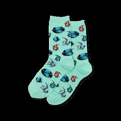 Women's Jade Tropical Fish Crew Socks