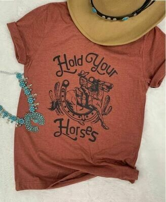 'Hold Your Horses' Rust Tee
