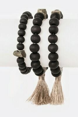 Black Wooden Beads w/Tassel