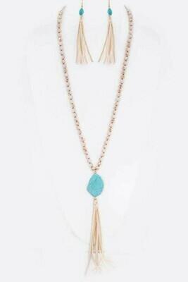 Ivory Beads w/Turquoise Rock & Tassel