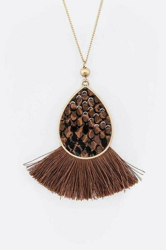 Gold Chain & Brown Snake Print Tassel