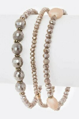 Taupe 3 Beads Stretch
